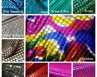 MERMAID Scale Fabric Fish Tale Foil - 2 Way Stretch Spandex Material - 150cm wide - 7 COLORS red black green blue rainbow gold silver
