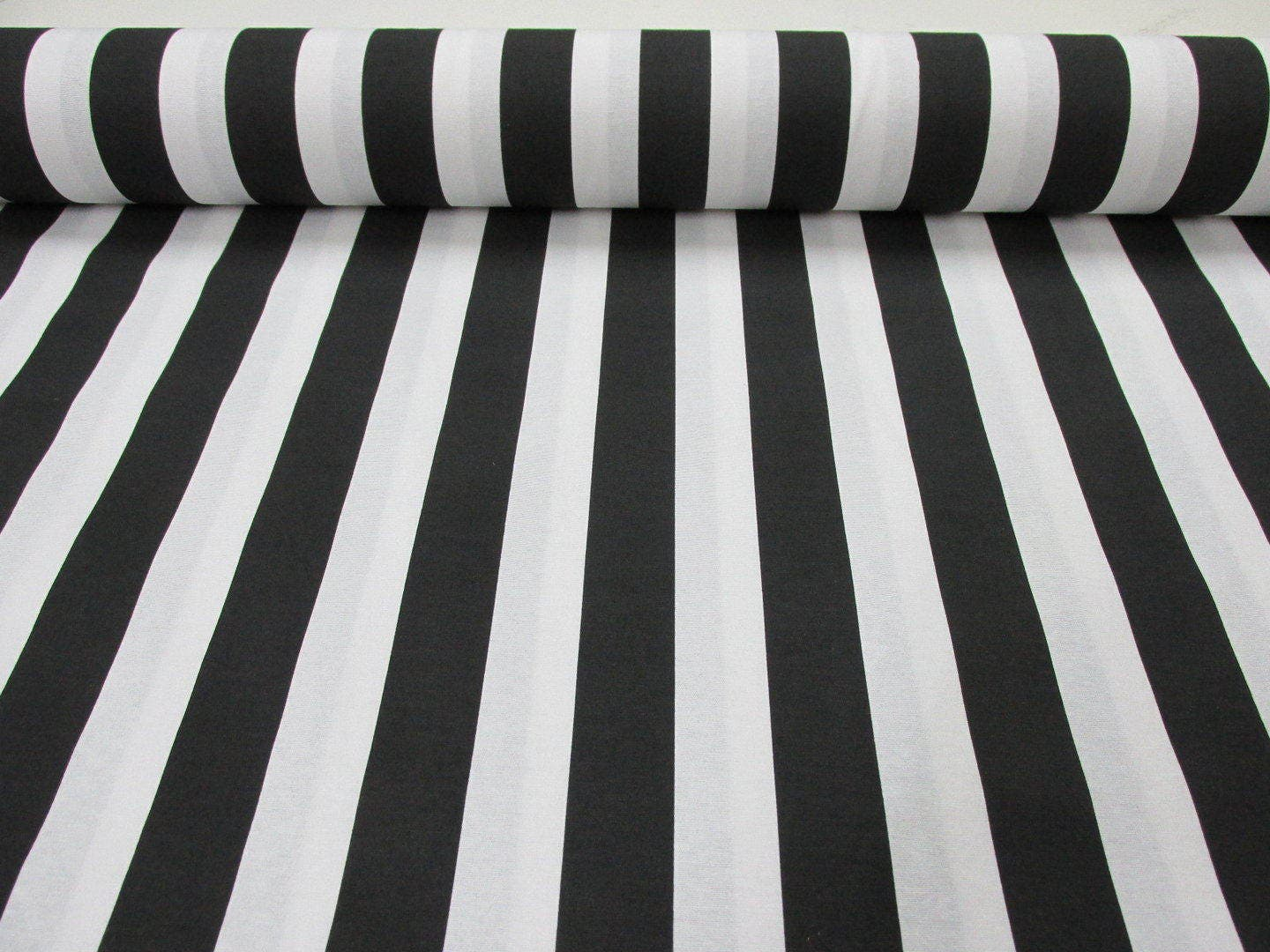 Black White Striped Fabric Sofia Stripes Curtain Upholstery Etsy