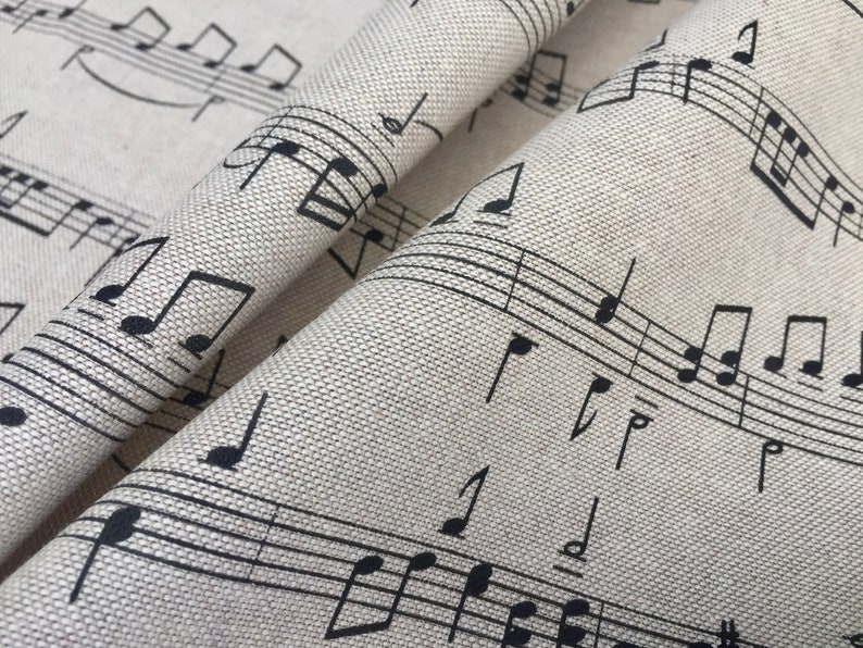 NEW PolyCotton Fabric Musical Notes Black Cream Reduced Prices Craft