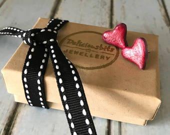 Hot red heart earrings, Heart stud earrings, Summer earrings, Heart earrings, Gift for her, Bright Red Earrings, Polymer Clay Jewellery