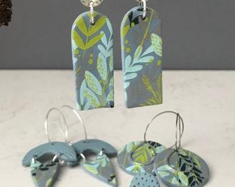 Silk screen printed clay earrings, hand painted clay earrings, floral design