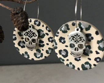 Camouflage Sugar Skull clay earrings on silver hoops, Sugar Skull hoops, Camouflage pattern earrings