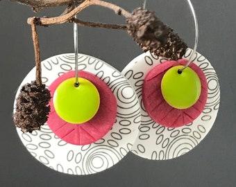 Screen printed clay earrings, raspberry, lime and grey modern earrings, retro style clay earrings on hoops