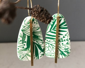 Floral screen printed earrings on gold hoops, Christmas in July Event
