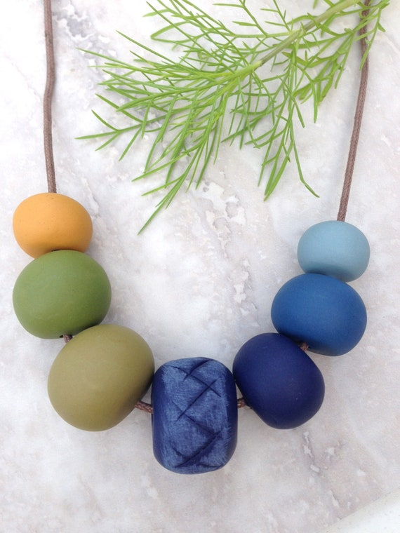 Navy, mustard and olive clay necklace