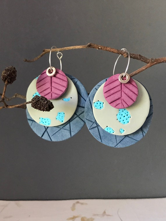 Pink and blue clay circle earrings, layered earrings, statement earrings, OOAK earrings