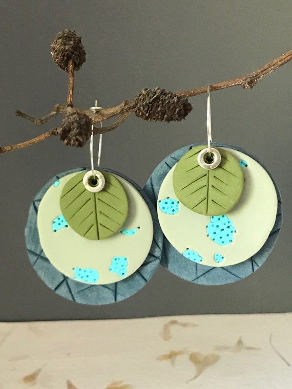Clay circle earrings, blue and green clay earrings, interchangeable earrings, OOAK clay earrings