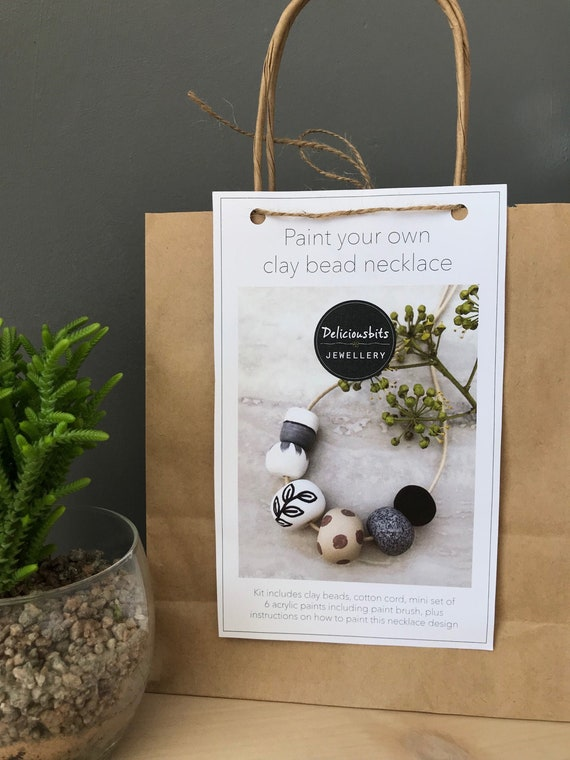 Paint your own clay bead necklace kit