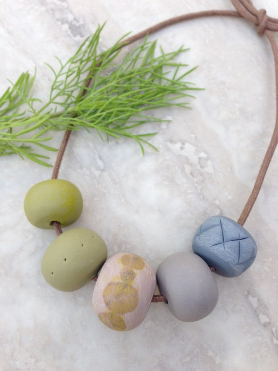 Clay pastel beaded necklace