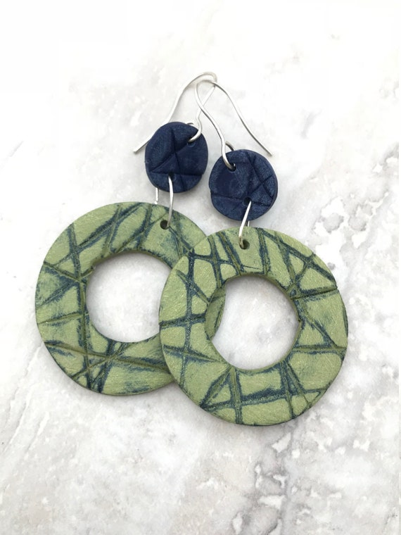 Navy and green clay earrings