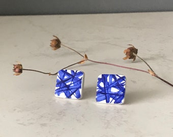 Blue and white clay stud earrings, hand painted square stud earrings, China blue square studs