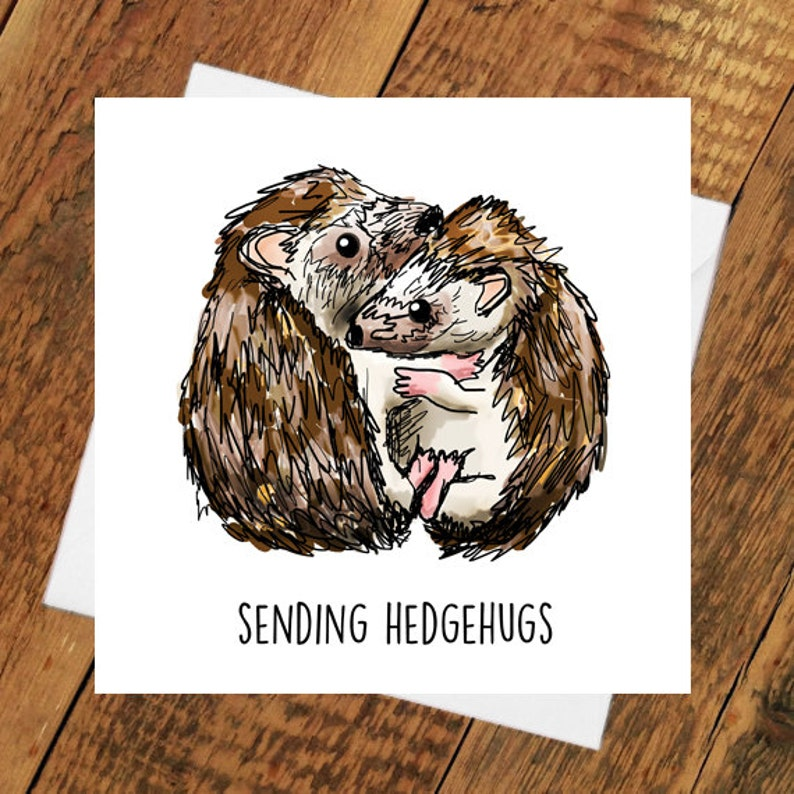 Hedgehog Card Thinking of you Hedgehug sympathy miss you pun image 0