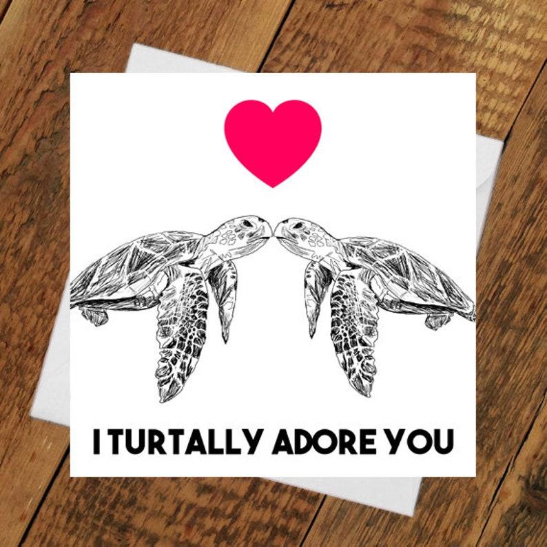 Turtle birthday romance valentines Card Girlfriend boyfriend image 0
