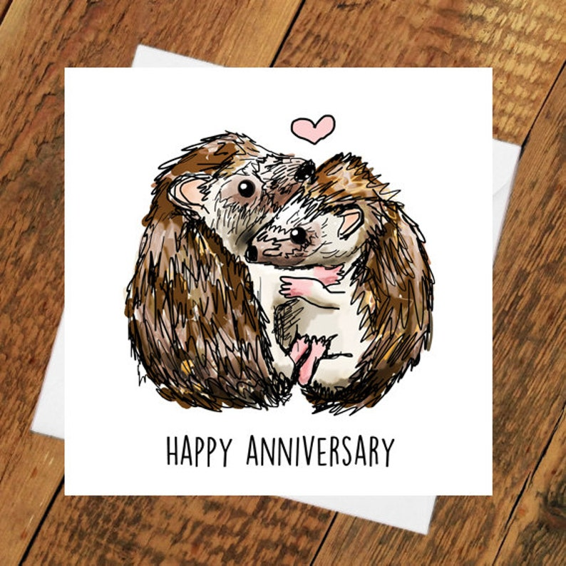 Happy Anniversary Hedgehog Hedgehug girlfriend husband wife image 0