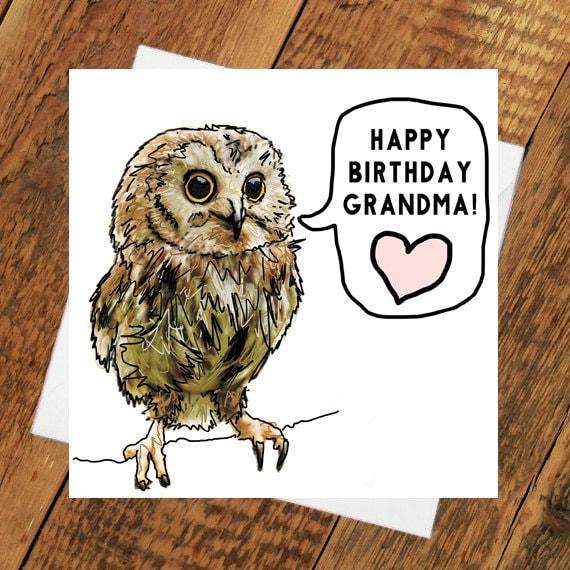 Oma Happy Birthday Card Eule Mutter Lustige Großmutter Kunst Etsy