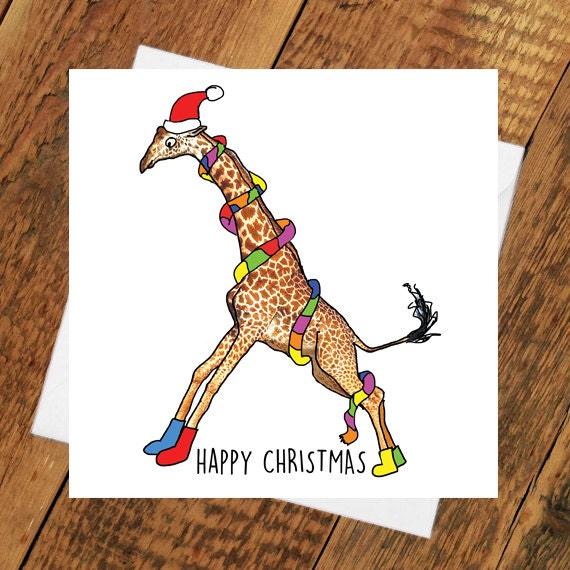 Christmas Card Drawing.Christmas Card Funny Giraffe Xmas Girlfriend Boyfriend Partner Cute Animal Funny Holiday Tierliebe Drawing Him Her Wife Husband
