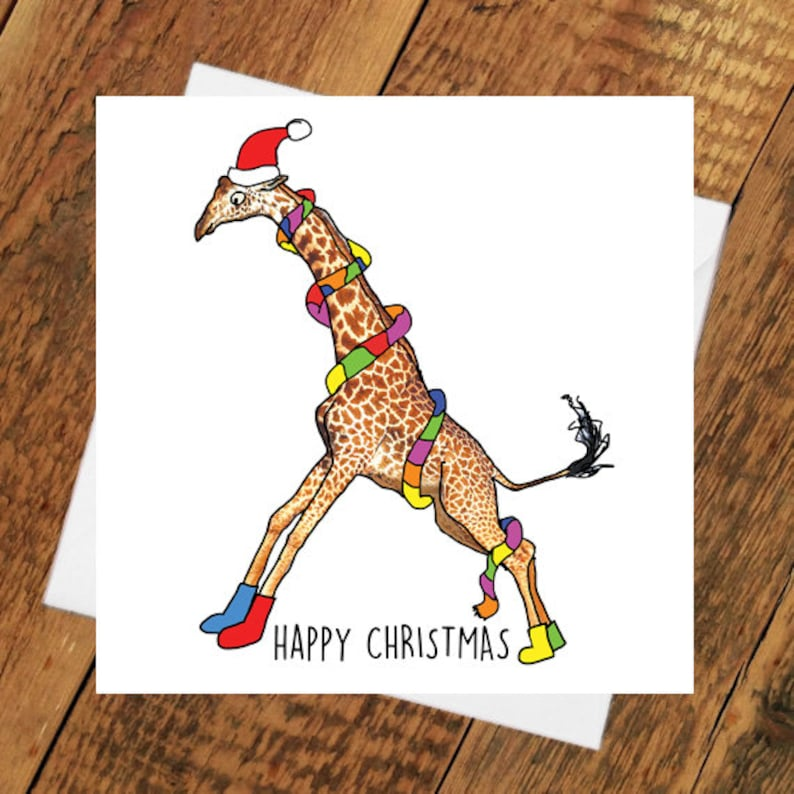 Christmas Card Funny Giraffe xmas Girlfriend boyfriend partner image 0