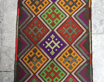 Lime Green and Purple Small Turkish Wool Mat 80x52cm
