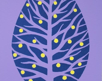 """5"""" x 7"""" Limited Edition Tree Bulb Screenprint in 3 Colours"""