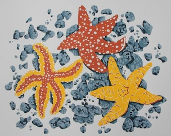 """Limited Edition """"Three Starfish"""" Silkscreen Print in Five Colours"""