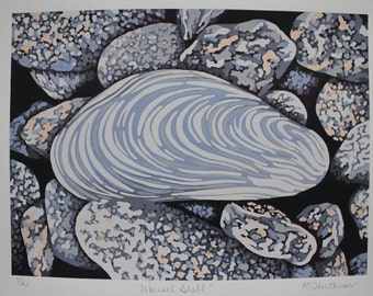 """7"""" x 9.5"""" Limited Edition Mussel Shell Screenprint in 8 Colours"""