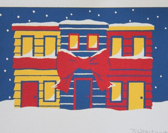 """5"""" x 7"""" Limited Edition Row Houses Screenprint in 3 Colours"""