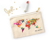 Canvas Cosmetic Bag - World Map Bag - Map of The World Bag - Printed Canvas Bag - Watercolor Map - Canvas Cosmetic Pouch - Toiletry Bag