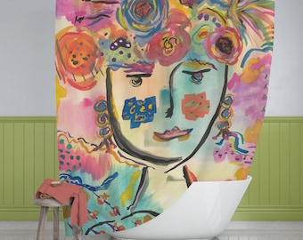 Boho Shower Curtains, Fabric Shower Curtain Of Watercolor Painting, Colorful Shower Curtains, Unique Shower Curtains, Gift For Her
