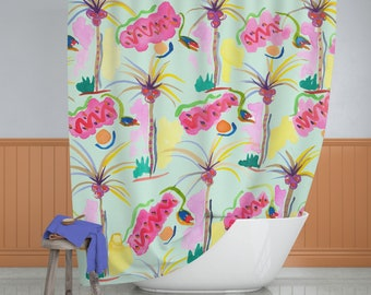 Tropical Shower Curtain, Palm Tree Shower Curtain, Beach Shower Curtain, Watercolor Shower Curtain, Fabric Shower Curtain