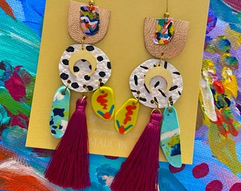 Colorful Statement Earrings, Hand Painted Clay and Leather Jewelry, Party Earrings, Gift For Her