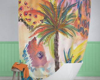 Tropical Shower Curtain, Palm Tree Shower Curtain, Watercolor Shower Curtain, Beach Shower Curtain, Fabric Shower Curtain
