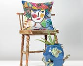 Pattern Pillow - Decorative Throw Pillow - Watercolor Pillow - Dorm Room Pillows - Accent Pillow - Artsy Pillow - Painted Pillow