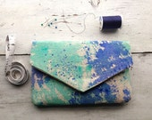Envelope clutch with hand painted abstract design, clutch purse, canvas bag, bohemian clutch