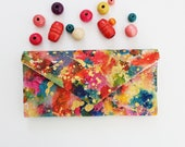 Envelope Wallet - Cash Envelope Wallet - Painted Women's Wallet - Gift for Her - Gift Ideas - Woman Wallet - Wallet Purse -Painted Wallet -