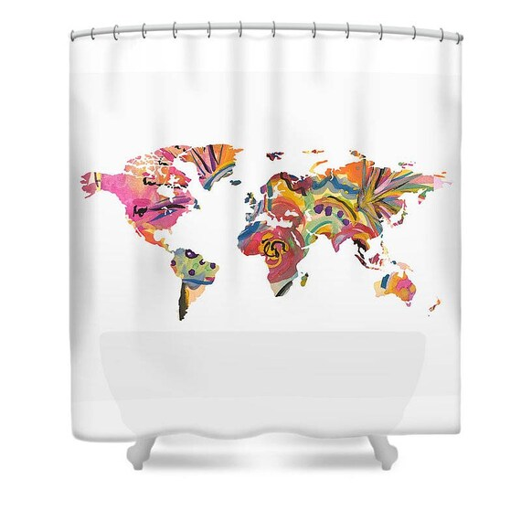 Map of The World Shower Curtain Fabric Shower Curtain Art | Etsy