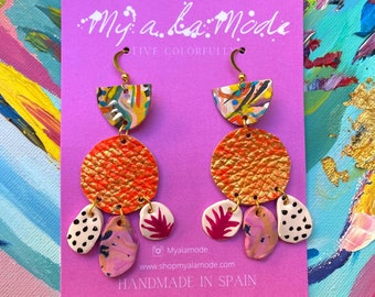 Colorful Statement Earrings, Hand Painted Clay and Leather Jewelry, Gift For Her