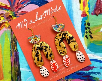 Colorful Statement Earrings, Hand Painted Clay and Leather Jewelry, Gifts For Her