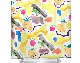 Pineapple Shower Curtain - Beach Shower Curtain - Shower Curtain Art - Unique Shower Curtain - Artsy Shower Curtain - Abstract Curtains