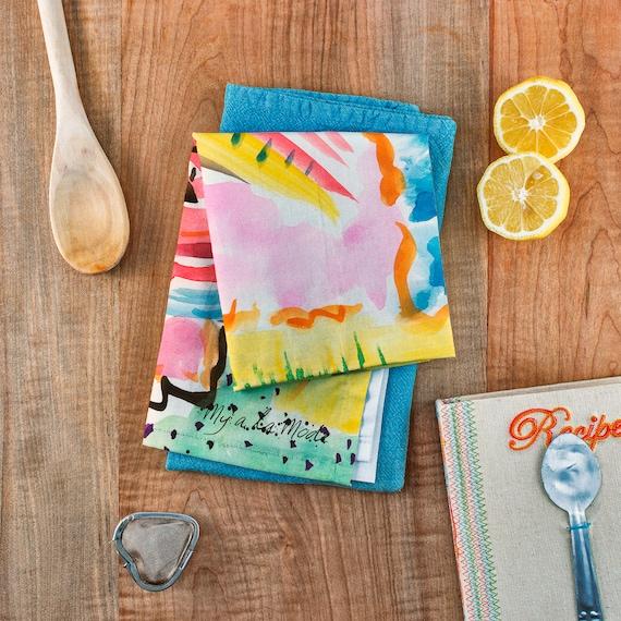 Watercolor Tea Towel Painted Tea Towels Printed Tea Towel Cotton Hand Towel Best Kitchen Towels Painted Kitchen Towels Tea Towel