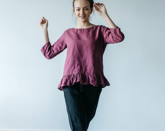 LINEN blouse with ruffled bottom in wild orchid color, natural linen blouse for women pluse size, top with sleeves