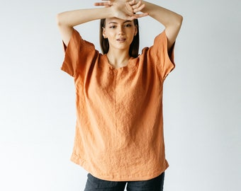 Natural linen blouse  Oversized linen top for women  More colors available