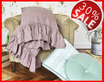 100% Linen Frilled Pillowcase With RUFFLE Rose Brown QUEEN Square Case Cover Organic Eco Premium Pure Flax