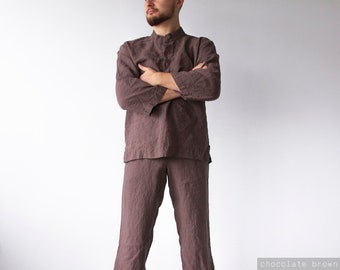 LINEN MEN'S PAJAMAS, linen mens pajama pants and linen pajama shirt, mens clothing, gifts for men, men shirt in brown