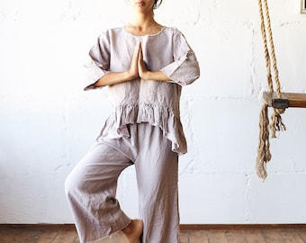 Linen PAJAMA SET woman / linen pajama set linen top/ pyjama woman clothing /  linen pant woman linen clothing/ linen culotte Valentine's Day