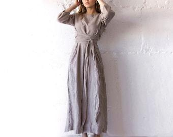 LINEN DRESS long midcalf belt dress / Linen long dress / Long Linen dress for woman / waist belt dress/ A dress / loungewear Len.Ok
