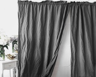 LINEN CURTAIN panel all colors sizes. Stone washed linen, softened linen curtain. Rod pocket. Handmade linen curtain, semi-sheer curtain