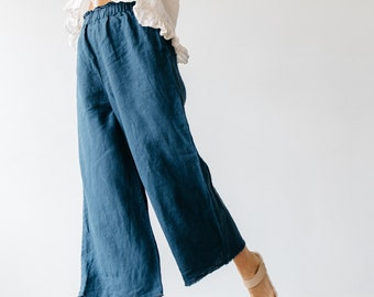 Washed Linen womens pants with elastic waistband and pockets Loose pants Linen culottes Simple pants Wide pants linen trousers 20 colors