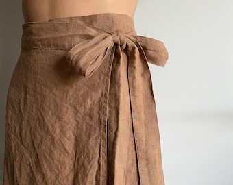 Linen Wrap Skirt, high waisted skirt, natural linen skirt for women, mid-calf skirt linen, linen circle skirt