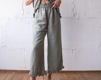 3d8d317b0a6069 LINEN PANT RUFFLE , linen pants , linen clothing , linen woman clothing ,  linen pant s m l xl xxl oversize , 100% linen loose pants Len.Ok