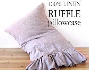 Linen PILLOW CASE with RUFFLES on one side StoneWashed Soft Queen linen pillowcase, King pillow sham Square pillowcase Lumbar Body pillow